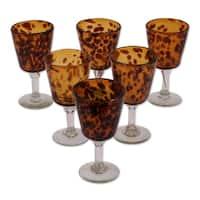 Handmade Tortoise Shell Set of Six Barware Amber Stemmed Handblown Wine Glasses (Mexico)