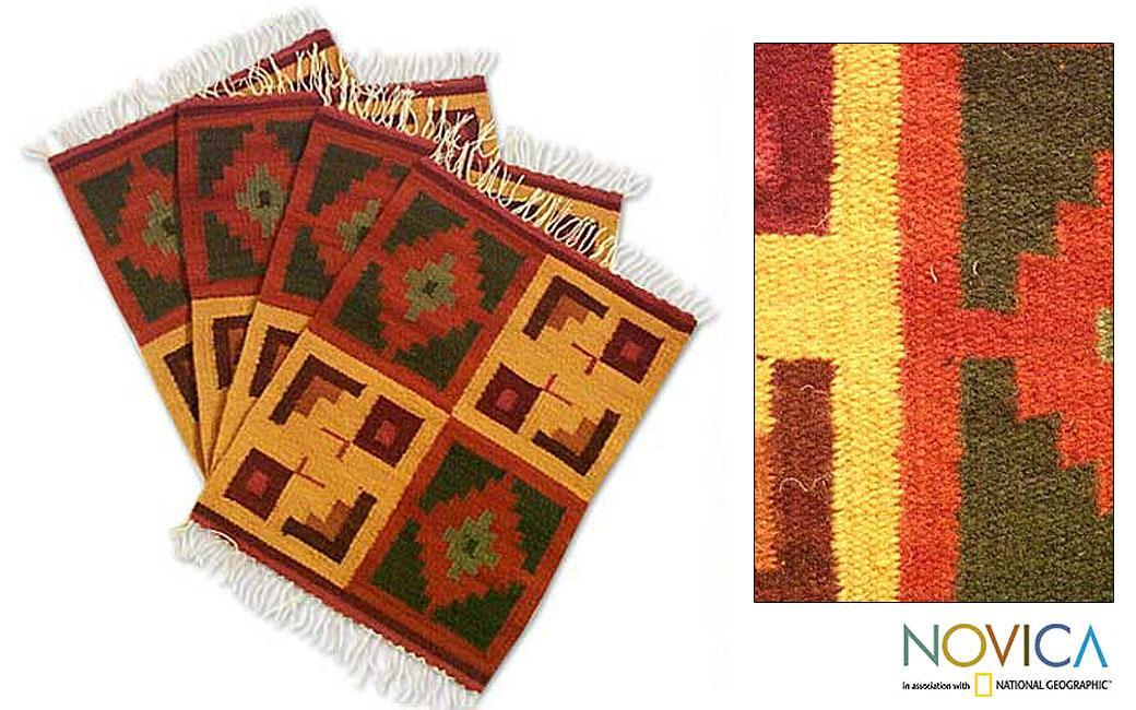 Set of 4 Handmade Wool 'Pukio' Placemats (Peru)