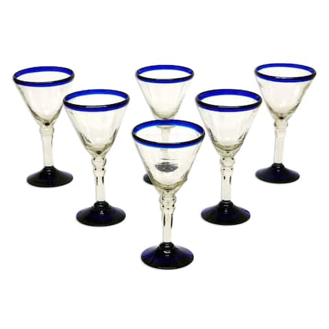 Handmade Blown Glass Double Bubble Wine Glasses Set of 6 (Mexico)