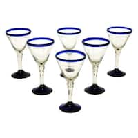 Handmade Set of 6 Blown Glass 'Double Bubble' Wine Glasses (Mexico)