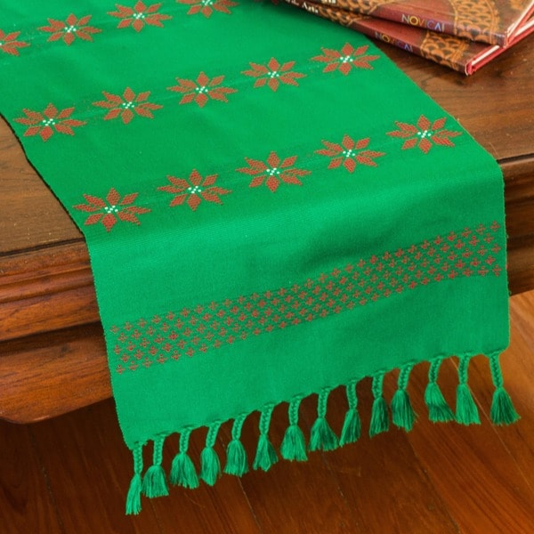 Handmade Cotton 'Poinsettia Stars' Table Runner (Thailand)