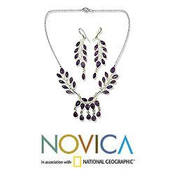 Handmade Sterling Silver 'Falling Leaves' Amethyst Jewelry Set (India) - Thumbnail 1
