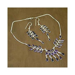Sterling Silver 'Falling Leaves' Amethyst Jewelry Set (India)