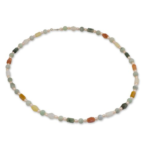 Handmade Silver 'Pure Love' Pearl and Jade Necklace (6-6.5 mm) (Thailand)