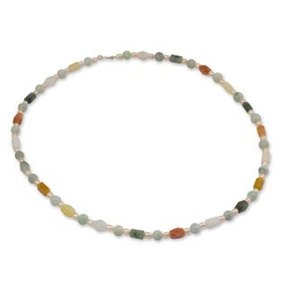 Silver 'Pure Love' Pearl and Jade Necklace (6-6.5 mm) (Thailand)