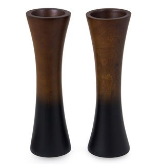 Handmade Set of 2 Mango Wood 'Thai Trumpets' Vases (Thailand)