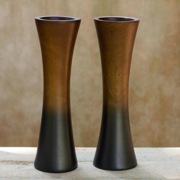 Handmade Set of 2 Mango Wood 'Thai Trumpets' Vases (Thailand)