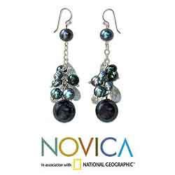 Silver 'Clusters of Blueberries' Pearl Earrings (5.5-8 mm) (Thailand) - Thumbnail 1