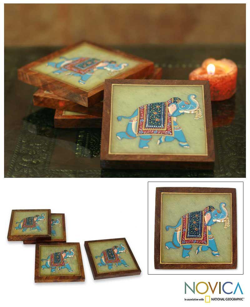 Set of 4 Soapstone 'Parade' Coasters (India)