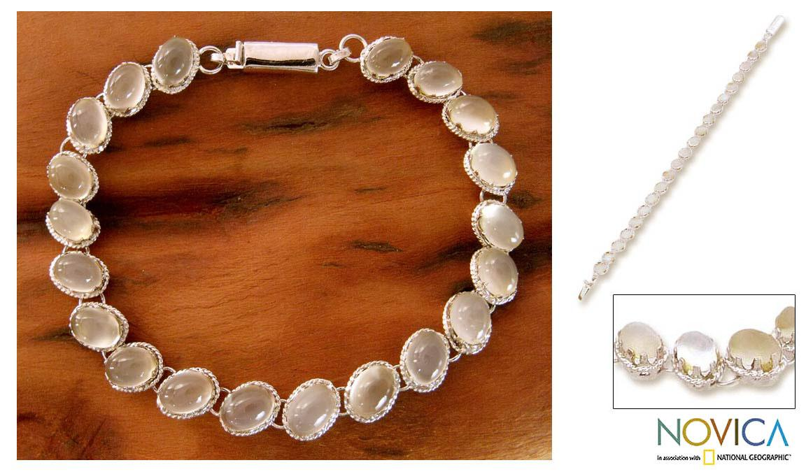 Handmade Sterling Silver 'Cloud Circlet' Moonstone Bracelet (India) - Thumbnail 0