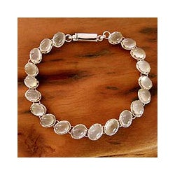 Sterling Silver 'Cloud Circlet' Moonstone Bracelet (India)