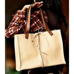 Leather 'Cream Chocolate' Medium Handbag (Indonesia)