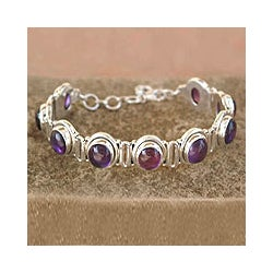 Perfect Plums Purple Amethyst Cabochon Oval Gemstones Bezel Set in 925 Sterling Silver Adjustable Length Womens Bracelet (India