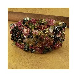 Handmade Tourmaline 'Festive' Stretch Bracelet (India)