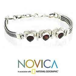Sterling Silver 'Love and Friendship' Garnet Heart Bracelet (India) - Thumbnail 1
