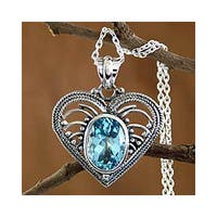 Handmade Sterling Silver 'Love Rejoice' Blue Topaz Heart Necklace (India)