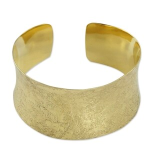 Handmade Gold Vermeil 'Summer Skies' Cuff Bracelet (India)