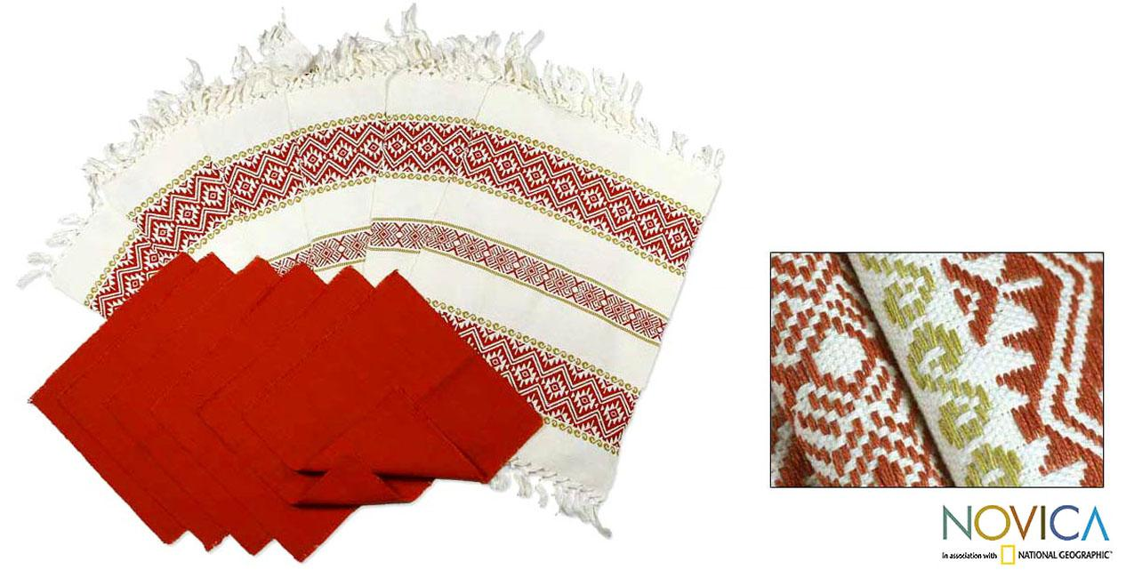 Set of 6 Cotton 'Terracotta Bouquet' Placemats and Napkins (Guatemala)