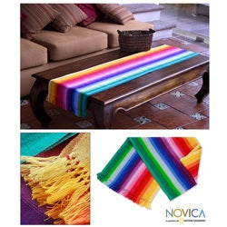 Handmade Cotton 'Rainbow Fantasy' Table Runner (Guatemala)