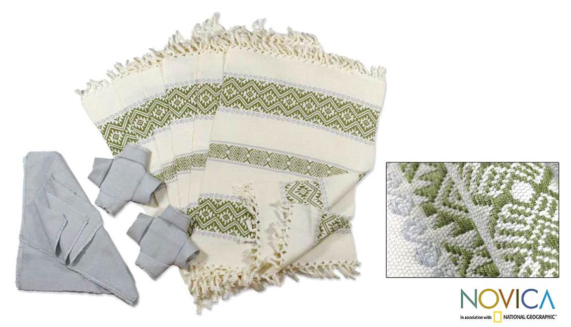 Set of 6 Cotton 'Country Bouquet' Placemats and Napkins (Guatemala)