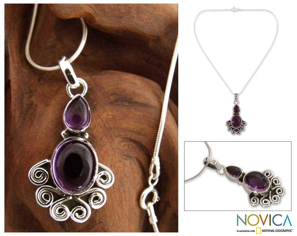 Handmade Sterling Silver 'Dream of India' Amethyst Necklace (India)