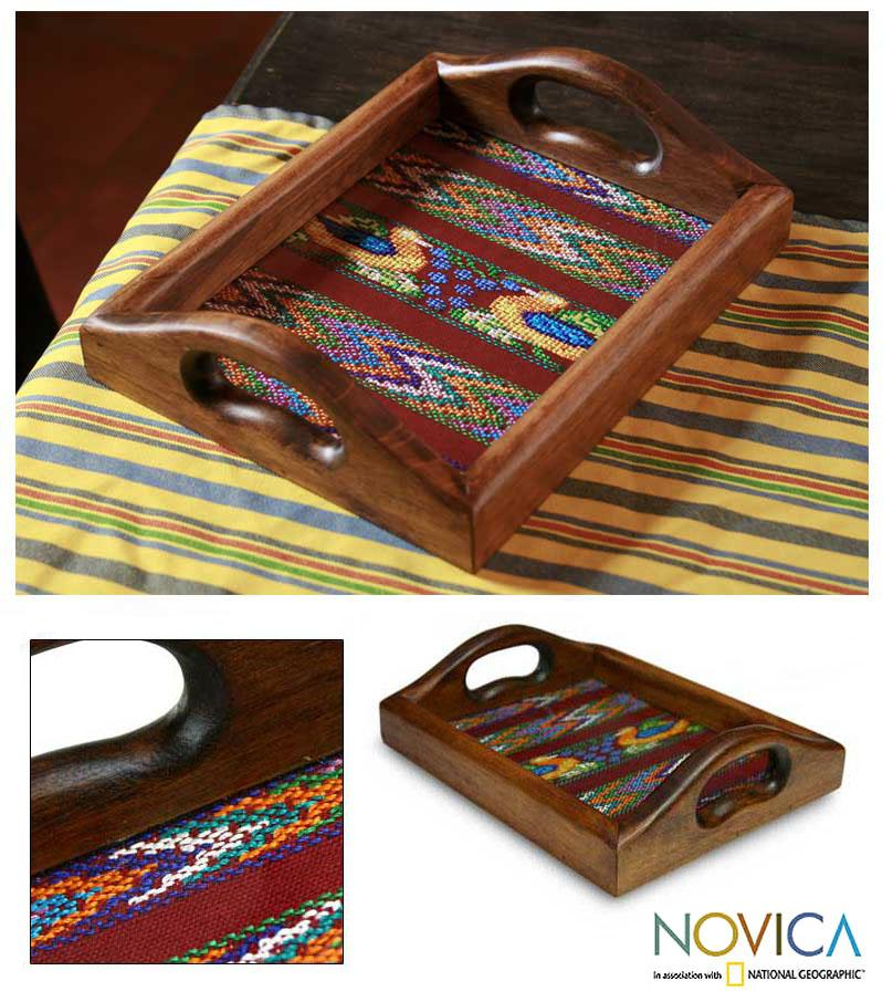 Wood and Cotton 'Maya Ducklings' Serving Tray (Guatemala)