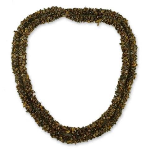 Handmade Tiger's Eye 'Honeysuckle' Long Beaded Necklace (India)