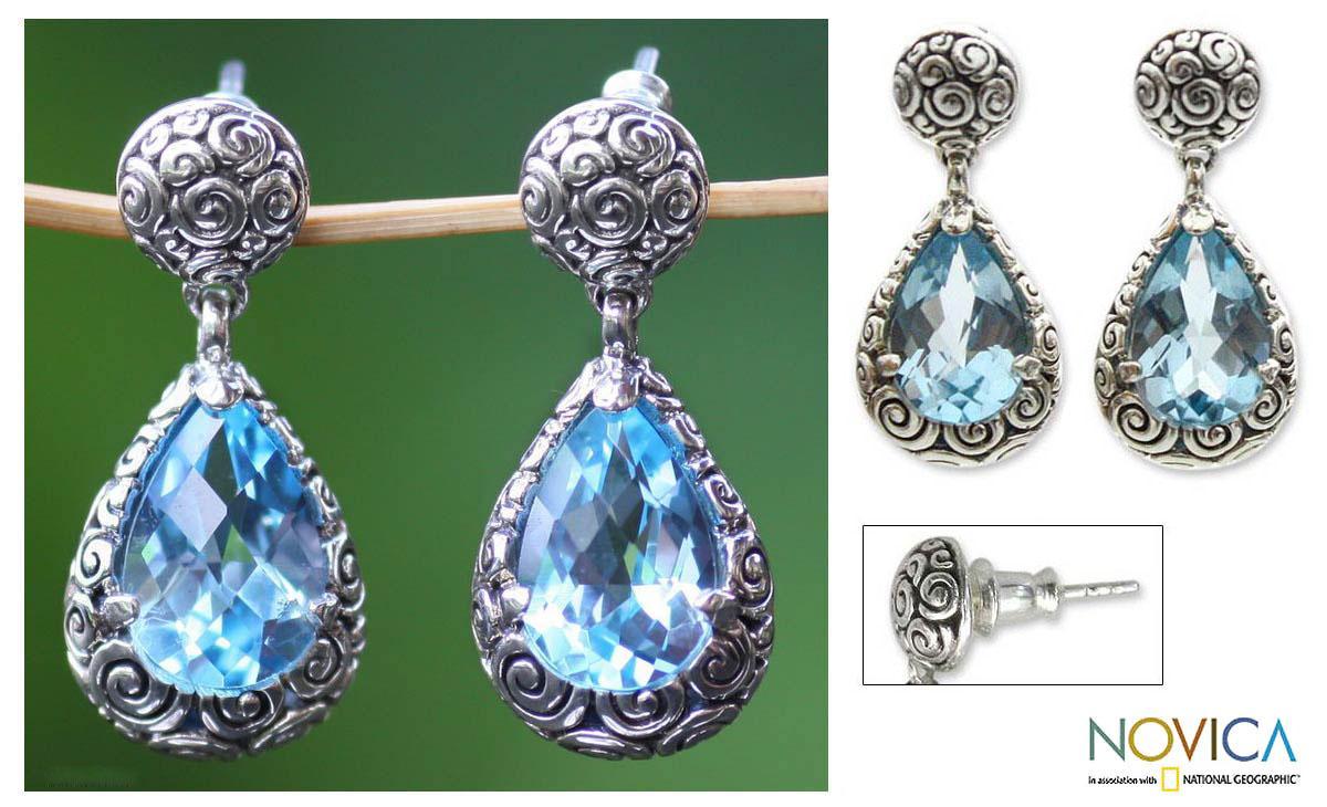 Sterling Silver 'Azure Teardrops' Blue Topaz Earrings (Indonesia)