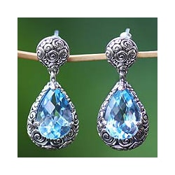Handmade Sterling Silver 'Azure Teardrops' Blue Topaz Earrings (Indonesia)