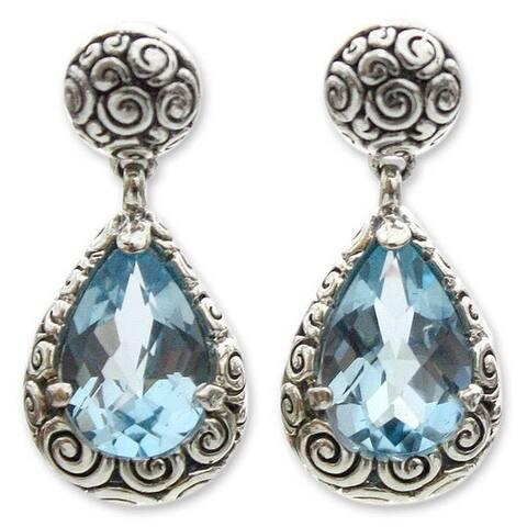 Novica Sterling Silver Azure Teardrops Blue Topaz Earrings