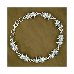 Sterling Silver 'Lucky Elephants' Link Bracelet (India)