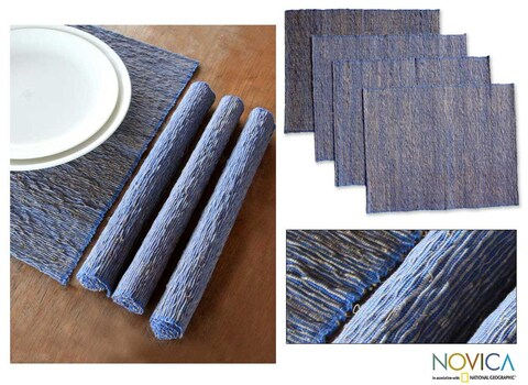 Handmade Set of 4 Cotton 'Blue Nature' Placemats (Indonesia)