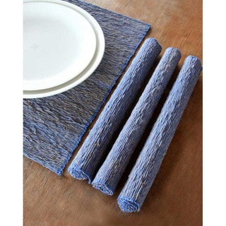Set of 4 Cotton 'Blue Nature' Placemats (Indonesia)