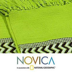 Handmade Set of 4 Cotton 'Lime Tree' Placemats and Napkins (Guatemala) - Thumbnail 2