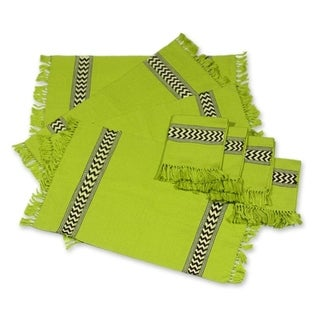 Handmade Set of 4 Cotton 'Lime Tree' Placemats and Napkins (Guatemala)