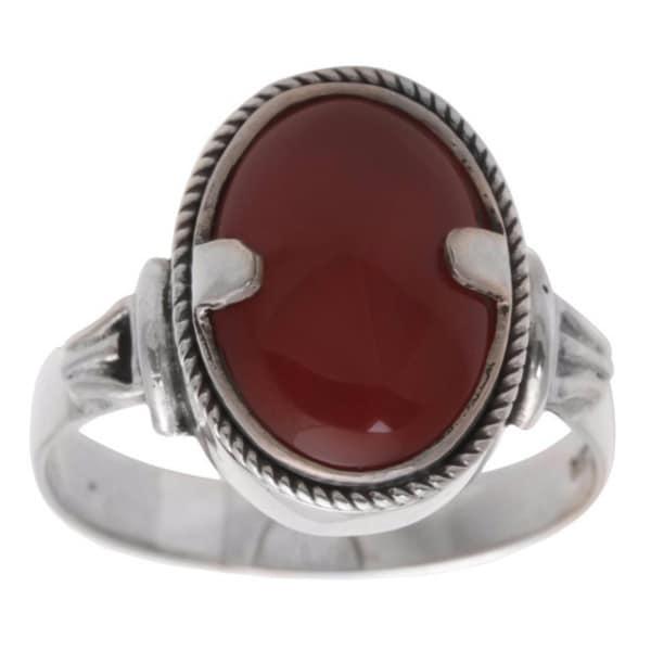 Handmade Sterling Silver Men's 'Dragon Eye' Carnelian Ring (Indonesia)