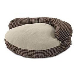 Round 42-inch Red Plaid Sherpa Pet Bed - Thumbnail 1