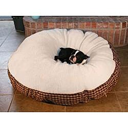 Round 50-inch Red Plaid with Sherpa Top Pet Bed - Thumbnail 1