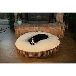 Round 42-inch Red Plaid Sherpa Top Pet Bed