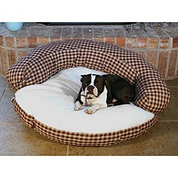 Round 35-inch Red Plaid Sherpa Top Pet Bed
