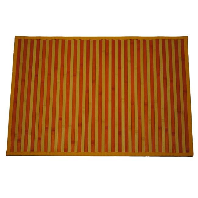 Asian Hand-woven Orange Stripe Rayon from Bamboo Rug (2' x 3')