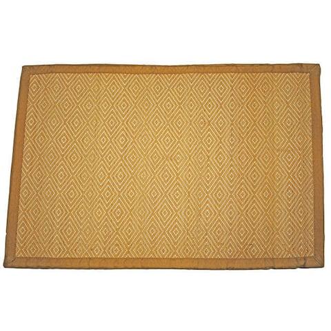 Handmade Diamond Pattern Rayon from Bamboo Rug - 2' x 3'