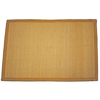 Asian Hand-woven Diamond Pattern Rayon from Bamboo Rug (2' x 3')