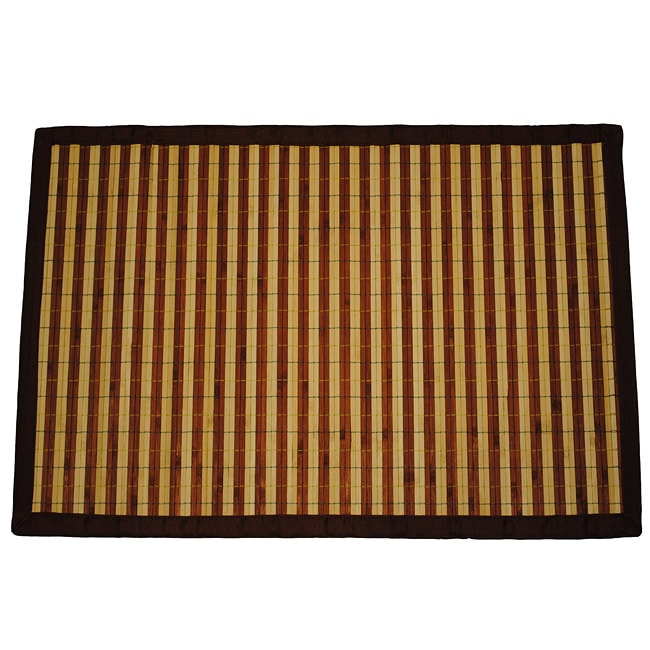 Asian Hand-woven Dark/ Light Stripe Rayon from Bamboo Rug (2' x 3')