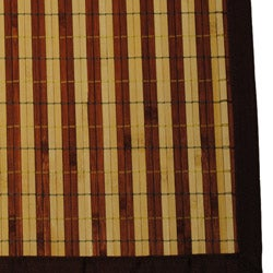 Asian Hand-woven Dark/ Light Stripe Rayon from Bamboo Rug (2' x 3') - Thumbnail 1