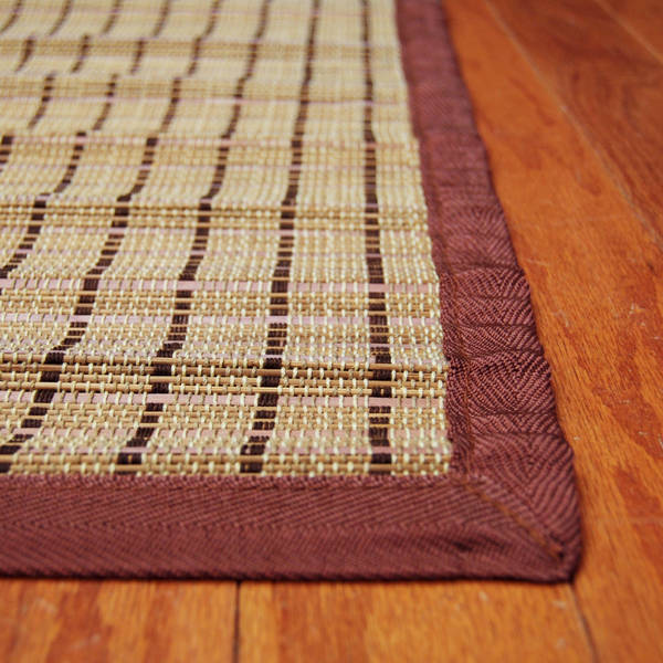 Asian Hand-woven Brown Threaded Rayon from Bamboo Rug (2' x 3')