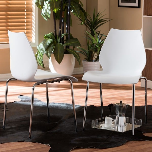 Baxton Studio Overlea White Plastic Modern Dining Chair 2