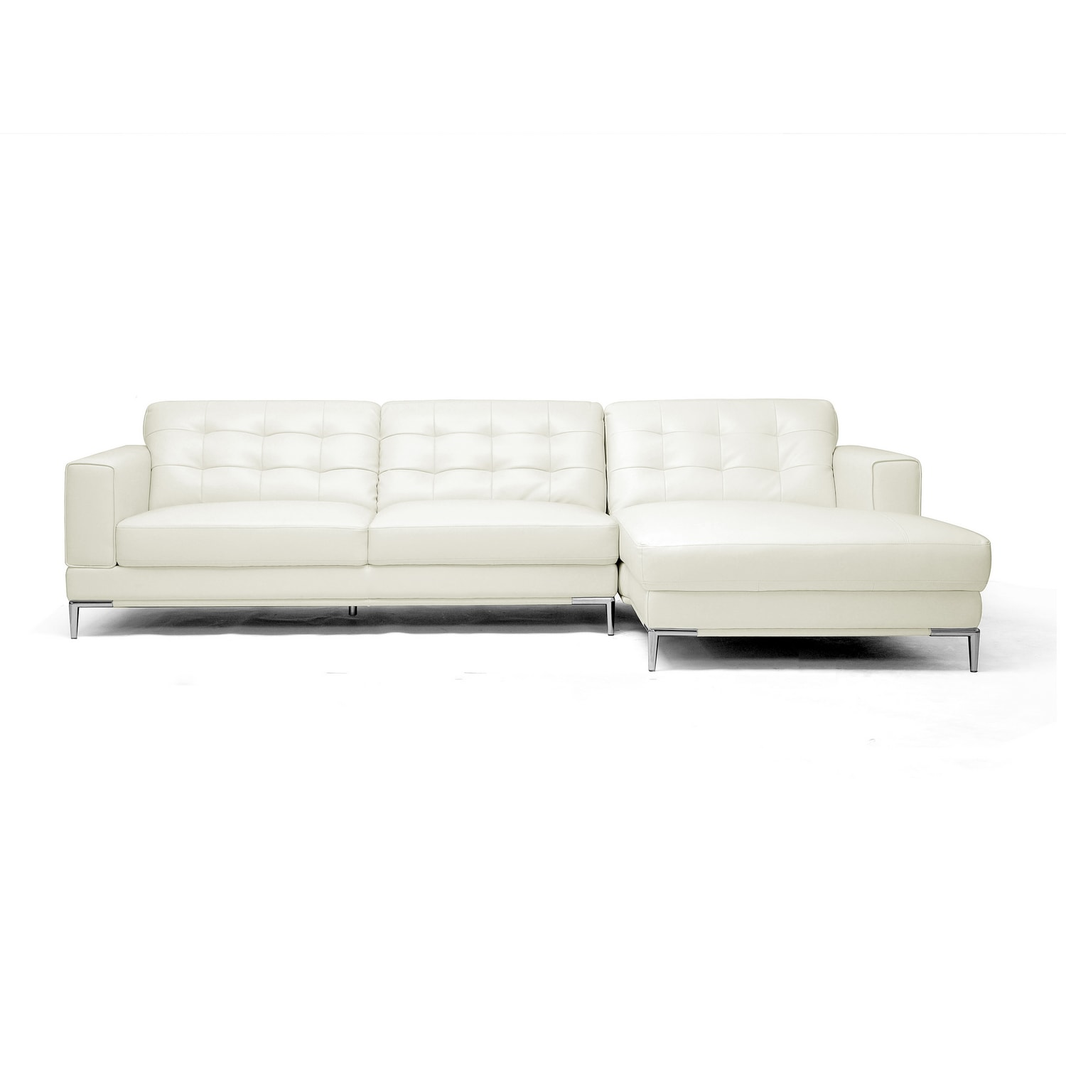 Babbitt Sleek Ivory Leather Modern Sectional Sofa Free Shipping