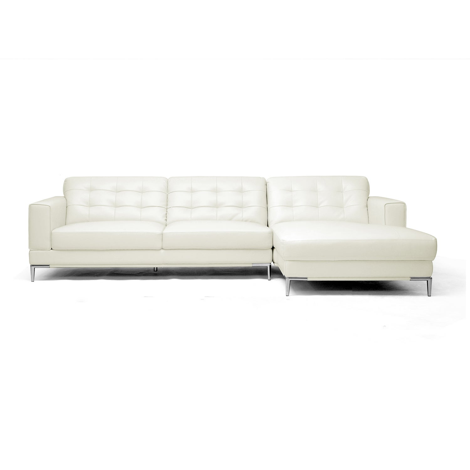 Babbitt Sleek Ivory Leather Modern Sectional Sofa