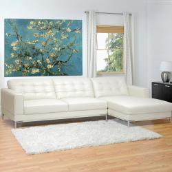 babbitt sleek ivory leather modern sectional sofa